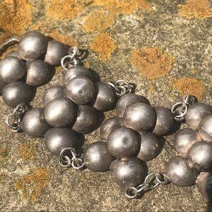 Vtg 950 Sterling ball book link bracelet raised